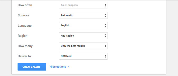 Google Alerts query options