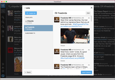 Adding a Twitter list to Tweetdeck part 2