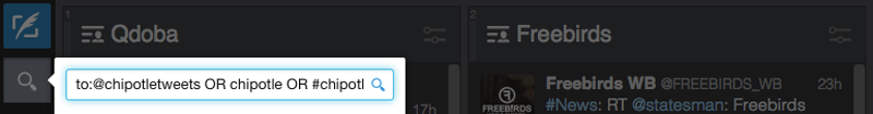 Writing a query for Tweetdeck or Hootsuite
