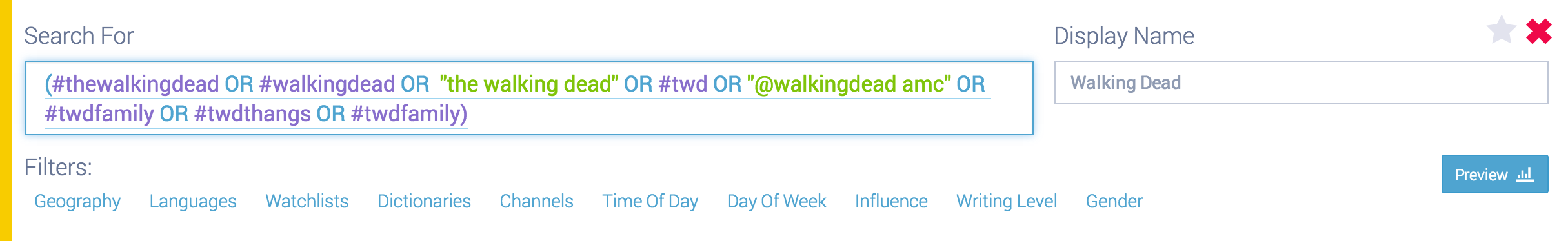 Example query including related hashtags