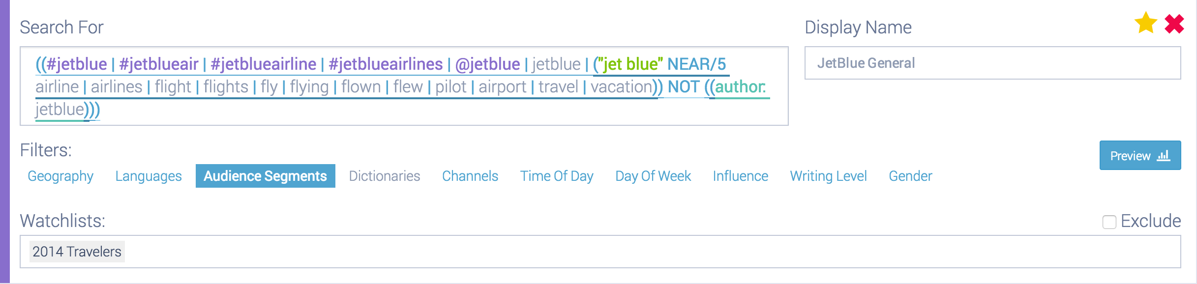 Example query with added filters
