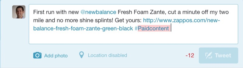 tweet box with lack of space to note that it is an ad
