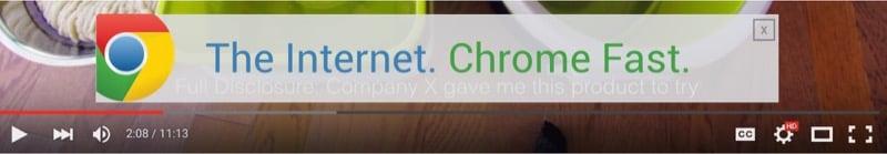 Chrome ad overlay on YouTube video
