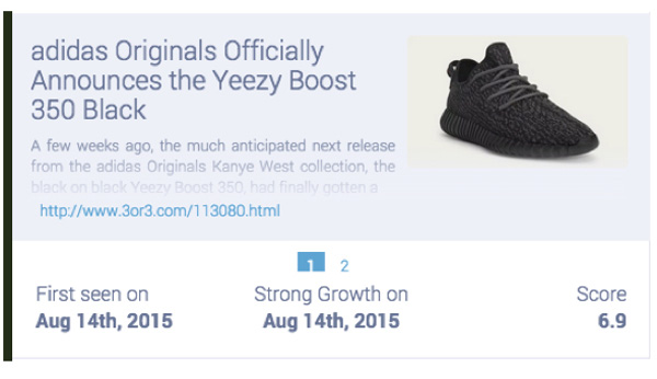 Social media conversations about Adidas Yeezy Boost 350 sneakers