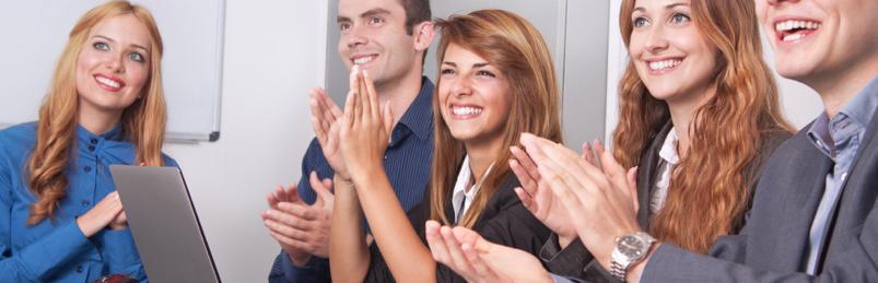 business professionals applauding