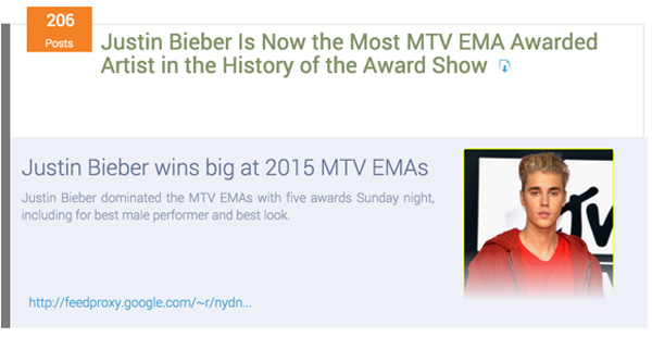 Justin Bieber most winning artist in MTV EMA history