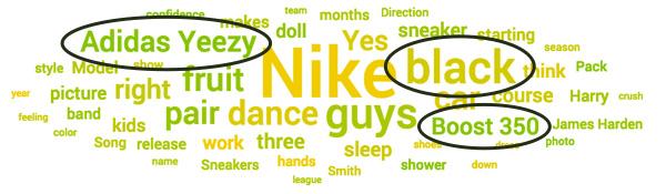 Social media conversation topic cloud for Adidas