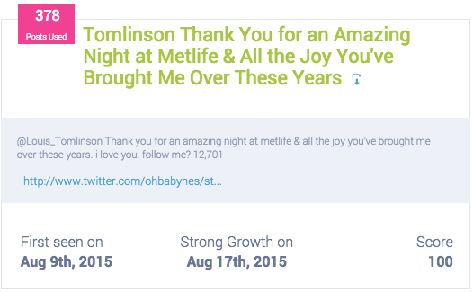 The Louis Tomlinson tweet that put Metlife on the map for August 2015