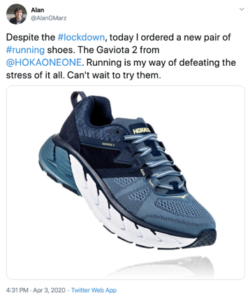 Firsthand  Coronavirus Consumer Conversation on Social Media Running Shoes