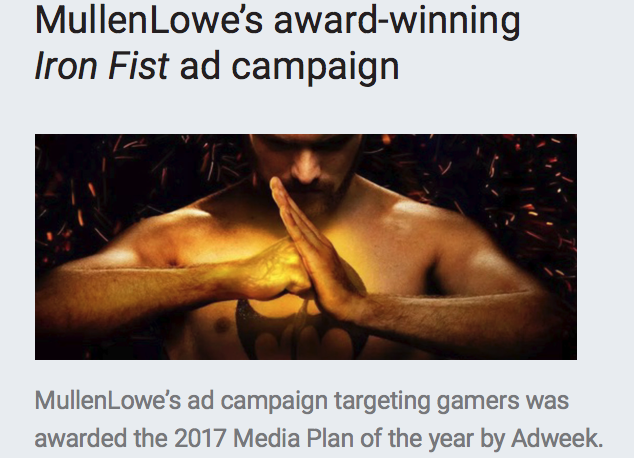 Netflix and MullenLowe Iron Fist Campaign